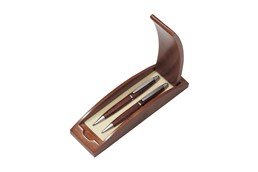 TRUSADOR Schreibset aus Palisanderholz: Schreibset aus Palisanderholz: blauschreibender Kugelschreiber und Bleistift mit