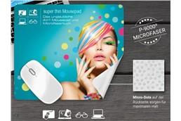 super thin Mousepad 4 in 1, 21 x 15 cm: Mousepad, Displayreinigung, Brillenputztuch und Displayschutz in einem! Bestens