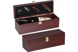 Luxus Weinbox & Zubehör: Weinbox aus Holz mit integriertem Kellnermesser, Flaschenverschluss, Ausgießer u