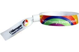 Stoffkontrollbänder mit Plastikverschluss zum zuziehen: Das kultige Stoffarmband in 15 mm Breite für Ihre Events, Festivals und mehr! Mi