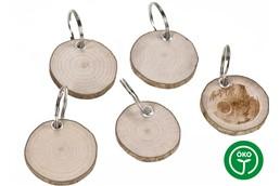 BARK Schlüsselanhänger: Schlüsselanhänger Rindenscheibe aus Haselnussholz rund mit Schlüsselring und Öse