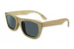 BAMBUS Holz-Sonnenbrille:   Sonnenbrille mit Rahmen und Bügel aus echtem Bambusholz, schwarze Gläser mit