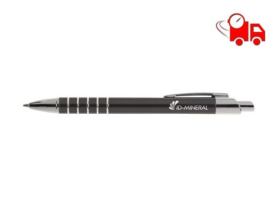 THANA Speed Kugelschreiber:   Blauschreibender Aluminiumkugelschreiber in Metallic-Look, mit Metallclip un